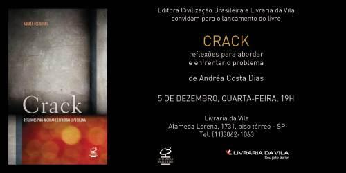 convite livro Crack Andréa Costa Dias